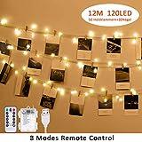 LED Foto Clips Lichterkette für Zimmer, Tomshine 12M 120LED Fotoclips Lichterketten...