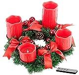 Britesta Adventskranz LED-Lichter: Adventskranz mit roten LED-Kerzen, rot geschmückt...