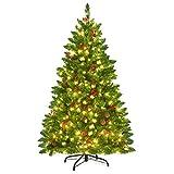 COSTWAY 135/200cm Künstlicher Weihnachtsbaum mit warmweißer LED-Lichterkette,...