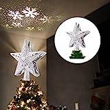 Weihnachtsbaum Stern mit LED Schneeflocke 3D Hollow Star Topper Projektor Tannenbaum...