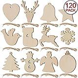 SAVITA 120 Stück Weihnachten Holzanhänger, 12 Stil Christbaumanhänger, Hängende...