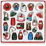 com-four® 24-teiliges Set Holzfiguren Weihnachten - Weihnachtsschmuck aus Holz -...