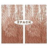 Rose Gold Metallic Tinsel Vorhänge,2 Stück Folie Fringe Shimmer Vorhang,Quaste...