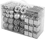 BRUBAKER 101-teiliges Premium Weihnachtskugel Set mit Baumspitze Silber - Funkelnde...