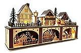 Wichtelstube-Kollektion LED Holz Lichtersockel mit Timer Schwibbogen Weihnachtsdorf...