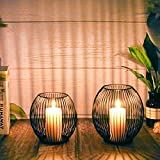 WEIMIN Kerzenständer 2er Set, Kerzenständer Schwarz, Oval Metall Kerzenhalter für...