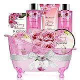 Geschenkset Frauen,Body&Earth 8pcs Bad Set mit Kirschblüten und Jasmin Duft,...