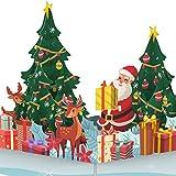 PaperCrush® Pop-Up Karte Weihnachten - 3D Weihnachtskarte mit Weihnachtsmann und...