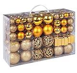 ilauke Christbaumkugeln Set 105 Teilig Weihnachtskugeln Gold aus Kunststoff -...