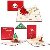 Weihnachtskarten mit Umschlag Set, 3D Pop up Frohe Weihnachten Karten mit...