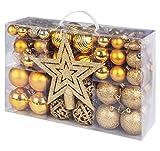Adorfine 101 teilig Weihnachtskugel Set Christbaumkugeln Baumschmuck mit Gold...