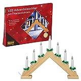 Idena 8582088 - LED Adventsleuchter aus naturfarbenem Holz mit 7 LED Kerzenlichtern,...