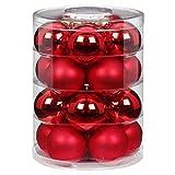 MAGIC Weihnachtskugeln Glas 6cm 20 STK. Christbaumkugeln Farbe: Rot Glanz/matt