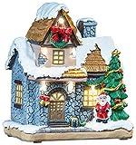 infactory Weihnachtsdorf Deko: Deko-Weihnachtshaus mit Santa Claus, LED-Beleuchtung,...