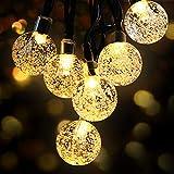LED Lichterkette Außen Solar OMERIL Lichterkette mit 50er LED Kristallkugeln 8 Meter...