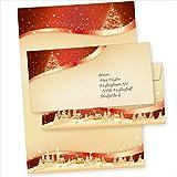 TATMOTIVE 05-0145-0090-00100 ROT GOLD 100 Sets Weihnachtsbriefpapier mit Umschläge...