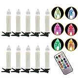 20er LED Kerzen Weihnachtskerzen Kabellos RGB Christbaumkerzen für Weihnachtsbaum...