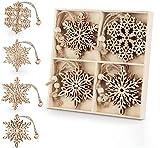 ilauke Weihnachtsanhänger Holz, 12 Stück Weihnachts Hängeornamente Vintage - 7cm...