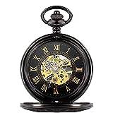 HHTD. Taschenuhr römische Geschnitzte Hohl Klassische mechanische Uhr Taschenuhr...