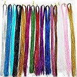 15 Stück Haar Lametta, Lametta Haarverlängerungen, 15 Farben 43 Zoll 2250...