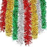 HOWAF 8 Stück 14m Weihnachten Lametta Girlande Metallisch Lametta Girlande...