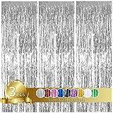3 Stück Silber Metallic Lametta Vorhänge,Tinsel Folie Vorhang Folienfransen Vorhang...
