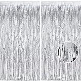 Glitzer Silber Metallic Lametta Folie Fransen Vorhänge, Sparkle Metallic Photo Booth...