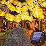 Lezonic Solar Lichterkette Lampion Außen, 8 Meter 30 LED Laternen 8 Modi Wasserdicht...