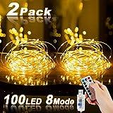 Led Lichterkette, Nasharia 2 Stück 10M 100LED USB Lichterkette Draht Wasserdicht mit...