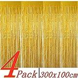 BangShou Metallische Lametta Vorhänge 4 Pack Folie Vorhang Metallic Tinsel Vorhänge...