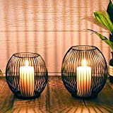 Kerzenständer 2er Set, Kerzenhalter Schwarz Oval Metall Kerzenleuchter für...