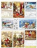 50 Weihnachtskarten Nostalgie Grußkarten Weihnachten Klappkarten mit Umschlägen...