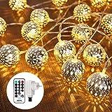 Qedertek LED Ostern Lichterkette mit Marokkanischen Kugeln, Lichterkette innen mit...