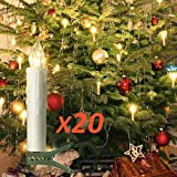20er LED Kerzen Timer mit Fernbedienung, Weihnachtskerzen, IP64 Dimmbar Kerzenlichter...
