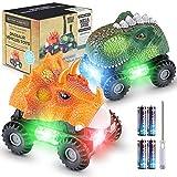 Magicfun Dinosaurier Autos, 2 Stück Dinoautos mit Spaß LED-Lichtern und...
