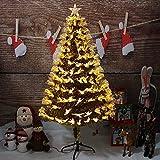 DLPY Künstliche Weihnachtsbaum Gold LED-leuchten Optische Faser Scharnier Bunte...