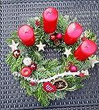 Adventskranz 25 bis 50cm rot, rustikal, Nordmanntanne & Koniferenmix, frisch...