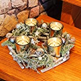 KAMACA Adventskranz aus massiven Holzzweigen mit Deko wie Tannenzweigen und Glas...