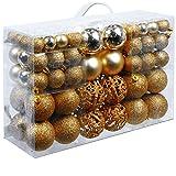 Deuba Weihnachtskugeln 100 Stück Gold - Christbaumkugeln Baumschmuck...