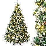 Yorbay künstlicher Weihnachtsbaum mit Beleuchtung weiß Schnee LED Tannenbaum für...
