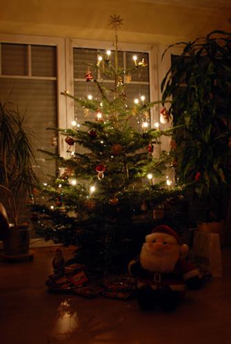 Ein geschmückter Tannenbaum an Heiligabend | Foto: Bilderrampe.de